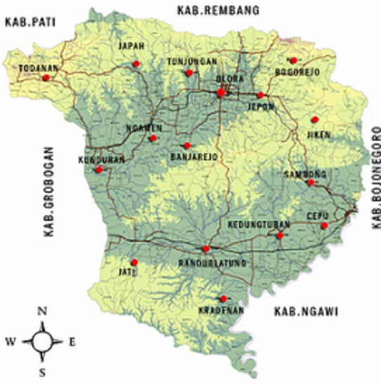 gambar peta kabupaten blora